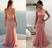 Wholesale one long sleeve wedding dresses for sale - Group buy One Shoulder Blush Pink Mermaid Formal Bridesmaid Dresses Sparkly Sequins Party Dresses Open Back Wedding Guest Evening Gowns