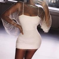 sexy langes schwarzes körperkleid groihandel-Fantoye Kristalldiamanten reizvolle Bodycon Frauen aushöhlen Minisommer-Netz-Mesh-Strand-Kleid-Partei Vestidos Q190516