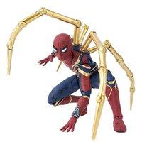 örümcek adam film figürleri toptan satış-Film Avengers Infinity Savaş Demir Örümcek Adam Karikatür Oyuncak Action Figure Modeli Bebek Hediye