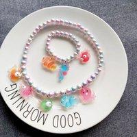 desenhos animados do oceano venda por atacado-Novas estilo animal do oceano Crianças colares bonito 2pcs meninas dos desenhos animados colares + Pulseira / set meninas pulseira designer miúdos jóias A8426