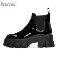 Wholesale black patent thick soled shoes resale online - Height Increasing Thick Sole Ankle Boots Women Round Toe Patent leather Platform Shoes Casual Boots Woman