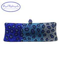 ingrosso sacchetti di promenade blu-Royal Nightingales Luxury Blue Party Borse da sera e pochette con strass di cristallo per Womens Party Wedding Prom Dress # 744115