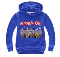 erkekler gündelik giyim tişörtleri toptan satış-Bebek Giymek Roblox Hoodies Kazak T-shirt Çocuk Erkek Kız Dış Giyim Giyim Çocuk Hoodied Uzun Kollu Tees Casual Eşofman H008
