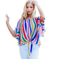 tube blouse achat en gros de-Chemises à rayures imprimées pour femmes Manches trompette à sept branches Col haut Slash Neck Chemises Casual Été et printemps