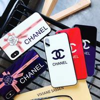 iphone c telefon çantası toptan satış-İngilizce mektup iki C marka tasarım cep telefonu kılıfı iphone X 7 7 artı 8 8 artı 6 6 artı 6 Splus temperli cam vaka iphone XS MAX