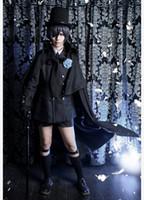 ingrosso costumi cosplay ciel nero cembalo-Anime Black Butler Ciel Phantomhive Funeral Cosplay Cotume Kuroshitsuji Halloween Costume Fancy Party Outfit Abiti quotidiani per uomo