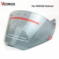 ls2 kask lens toptan satış-LS2 MX436 motocross kask için yedek yüz kalkanı anti-çizik ücretsiz boyutu için LS2 MX436 Kask lens cam Işık duman