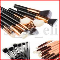 bolsas de color rosa rubor al por mayor-Pincel de maquillaje 15pcs / Set Brush con el bolso de la PU Cepillo profesional para la fundación del polvo Blush Eyeshadow negro marrón rosado de alta calidad
