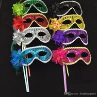 Wholesale black lace masquerade ball masks resale online - Masquerade Party plastic Masks On stick with cloth lace and side Flower masks for Masquerade Ball Black White colorful party Masks h307