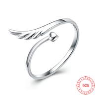 925 niedlicher herzring großhandel-Großhandelsart und weise öffnen Ringschmucksachen netter 925 Sterlingsilberflügel und Herz resizable Ring für Mädchen