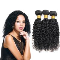 natürliche jerry curl brasilianische haare weben großhandel-Brasilianische Haarwebart Curly Bundles Jerry Curl Echthaarverlängerung Günstige brasilianische Haar Bundles Natural Black