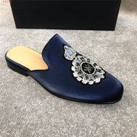 Wholesale man made leather slippers resale online - Men Velvet Upper Mules with Leather Sole Trend Outdoor Slippers with Coat of Arms Embroidery Made in Italy Size