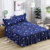 yükseklik yıldızları toptan satış-Yeni Su Geçirmez Koyu Mavi Yıldız Baskı Yatak Etek Ile Yüzey Yatak Yatak Örtüsü Levha Ev Tekstili Çarşafları (43 cm Yükseklik)