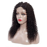 Wholesale kinky curly lace front closure for sale - Group buy Lace Front Human Hair Wig Brazilian Virgin Kinky Curly Hair x4 Lace Closure Wigs with Baby Hair Middle Part Natural Color Inch
