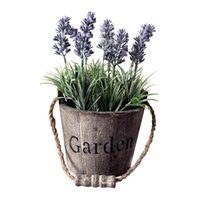 Wholesale rustic bucket for sale - Group buy Artificial Lavender Wedding Planter Pot Garden Vintage Plant Faux Flower Rustic Lounge Wood Bucket Cafe Decorations