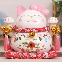 ingrosso figurine del fumetto-1 pz Cartoon Maneki Neko Ceramica Lucky Cat Ornamento Rosa Papillon Fortune Cat Statua Decorativa Per La Casa Figurine J190712