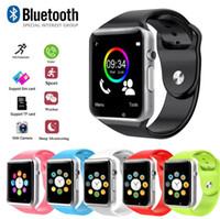 reloj deportivo gsm al por mayor-Deporte impermeable A1 Smart Watch Bluetooth GSM Sim Cámara del teléfono para Android / iOS SIM Teléfono inteligente Inteligente Estado de reposo Smartwatch