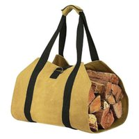 Wholesale carrier packaging resale online - Firewood Storage Bag Canvas Match Bag Portable Outdoor Canvas Fire Wood Carrier Log Tote Camping Carry Package Handles
