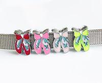 ingrosso braccialetti di ballerina-10PCS 8mm Ballerine con smalto per diapositive Charms Fit Pet Dog Nome Cinture Tag Bracciali portachiavi Strisce Polsini