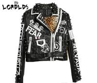 siyah bayanlar ceket moda toptan satış-LORDLDS Siyah Leopar Deri Ceket Kadın 2018 Sonbahar Kış Moda Turn-down yaka Punk Rock Çivili Ceketler Bayanlar mont