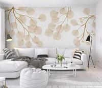 modern yaprak resimleri toptan satış-Özel moda üç boyutlu İskandinav minimalist el-boyalı flamingo mozaik duvar kağıdı arka plan duvar kağıtları ev dekor bırakır
