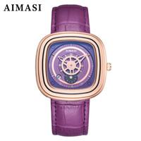 женские часы для женщин оптовых-Unique Design Square Dial Hollow Women Watches Japanese Movement Fashion Quartz Waterproof Wristwatch Leather Strap reloj mujer