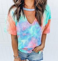 Wholesale Tie Dye T shirt Women Short Sleeve Tee Shirt Custom Printed Mix Colors V Neck Casual Shirt Royalblanks