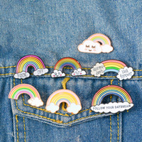 Wholesale kids girl clothes china for sale - Group buy Syles Rainbow Clouds Enamel pin Custom Dark White Brooches Bag Clothes Lapel Pin Badge Weather Jewelry Gift for Kids Girls