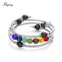 augen türkis großhandel-7 Chakra Mala Perlen Wickelarmband handgefertigt Wire Wrap Lava Rock Türkis Tigerauge Kristall Yoga Armreif Geschenke für Frauen