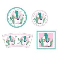 placas de papel dos desenhos animados venda por atacado-64 pcs guardanapos de papel guardanapos de papel de alpaca adorável cartões de convite criativo copos de papel placas partido decoração fontes do partido