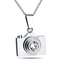 Wholesale camera chain jewelry for sale - Titanium Steel Camera Necklace Retro Black Blue Silver Stainless Steel Camera Pendant Men s Women s Student Jewelry
