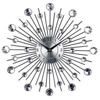 metal, relógios, paredes venda por atacado-Vintage Metal Art Crystal Sunburst Relógio de Parede de Luxo Diamante Grande Morden Relógio De Parede Design de Decoração Para Casa