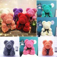 ingrosso orsi rossi di peluche di peluche di natale-Drop Shipping 40cm Red Teddy Bear Rose Flower Regali di Natale artificiali per le donne Regalo di San Valentino Orso di peluche \ Coniglio