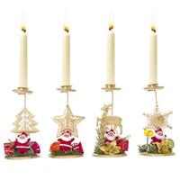 ferro ornamento venda por atacado-Natal Ferro Candlestick Ornament Xmas de Santa Vela desktop Decor Snowflake Moose Christmas Tree Vela Decoração Titular