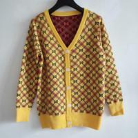 gelbe strickjacke für frauen großhandel-2019 Herbst Gelb Letter Logo Print Damen Strickjacken Designer Langarm Strick Damen Jacken Pullover 89292