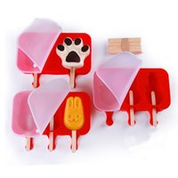 Wholesale rabbit molds resale online - Food Grade Kids Ice Mold Oval Silicone Ice Cream Mold Rabbit Bear Paw Popsicle Molds Ice Tray Cube Tools Frozen Mold BH1341 TQQ
