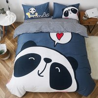 ingrosso coperture di cotone dei ragazzi-Nuovo Bella del panda del fumetto del gatto coniglio Orso di stampa 100% cotone Boy Bedding Duvet Cover Girl lenzuolo Federe regalo per il bambino