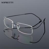 e6143ca898 Marcos de anteojos sin montura de aleación de titanio para hombre clásico, marco  óptico de miopía ultraligero, lentes sin marco sin tornillos A861