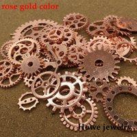 pulsera de ajuste de engranajes al por mayor-Mezcla 200 g steampunk engranajes y piñones manecillas del reloj Charm rose gold Fit collar de las pulseras DIY Metal fabricación de joyas