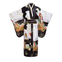 schwarzer cosplay kimono groihandel-Schwarze Frauen Dame Japanese Tradition Yukata Kimono Bademantel Kleid Mit Obi Blume Vintage Abendgesellschaft Kleid Cosplay Kostüm