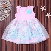 color azul polvo al por mayor-KOkO 2019 Verano niños impresión en polvo azul unicornio ropa de las muchachas vestido del bebé al por mayor nuevo diseño gasa tutu niños vestido unicornio