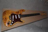 e-gitarre natur großhandel-Freies Verschiffen-bester Preis-kundenspezifischer Körper hergestellt in Natur-Holz-E-Gitarre 11-12 der USA-6 Schnur-F Stratocaster