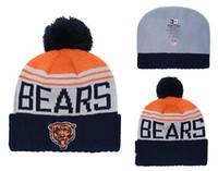sombrero de punto de oso al por mayor-Sombrero de punto con puño y puño para los hombres más grandes de Chicago Bears 2.0 Sombrero de punto con puño y pompón azul marino de acción de gracias 02