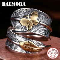 Wholesale ring feathers for sale - Group buy Balmora Real Sterling Silver Jewelry Butterfly Feather Retro Rings For Women Party Gift Bijoux Thai Silver Ring Sy21477 J190625
