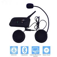 fone de ouvido de moto venda por atacado-V6 Motocicleta Bluetooth Capacete Interfone Headset 1200 M Moto BT Sem Fio Interfone para 6 Pilotos Intercomunicador