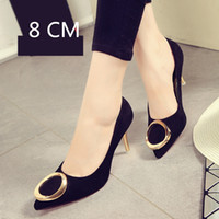 Wholesale ladies navy shoes size online - Designer Dress Shoes cm size Pointed Toe women banquet Pumps lady Wedding Party girl flock Casual dancing party high heels XG0023