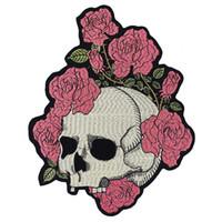 embellissement applique achat en gros de-Rose Crâne Patchs De Broderie DIY Veste Retour Badges Embellissement Appliques Vêtements Autocollants Fer Sur Badges 1 pièce