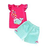 balerin yayı toptan satış-Çocuklar Yelek Şort Set Kızlar Balina Ekose Aşk Kıyafetleri giysi Kare Karikatür Hayvan Fırfır Papyon Şort Bebek Bebek Giyim Set Tops