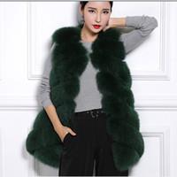 пушистые жилеты оптовых-faux fur coat 2019 Fluffy  Fur Vest Women Winter Long Fluffy Luxury Slim Female Colete De Pele V654