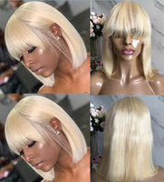 Wholesale blonde human hair lace wigs bangs resale online - Celebrity Lace Front Wigs Bob Cut with Bang Transparent Lace Short Wigs Blonde Malaysian Virgin Human Hair Full Lace Wig